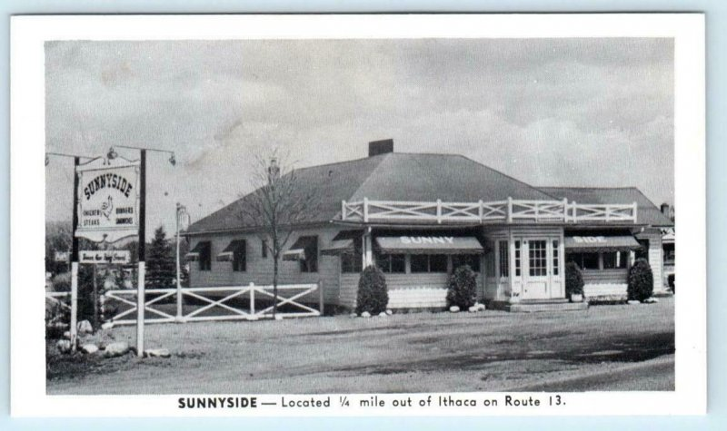 ITHACA, New York NY ~ Roadside SUNNYSIDE RESTAURANT ca 1940s  Postcard
