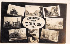 Toulon Illinois~E Main Street~S Miller Homes~High School~Church~1910 RPPC