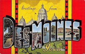 Des Moines Iowa~Large Letter Linen~State Capitol~Indian Design 1940s Postcard