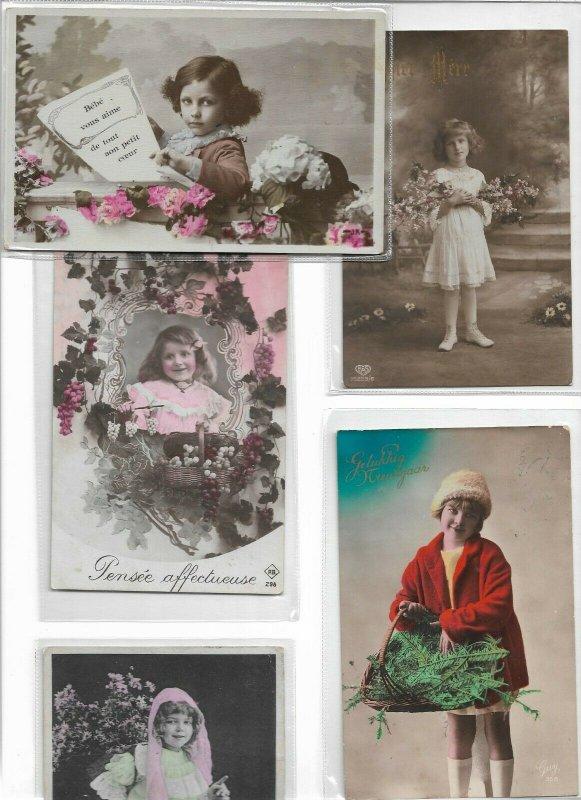 Art Nouveau - Gorgeous Kids RPPC Postcard Lot of 10 01.10