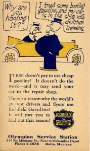 Advertising - Olympian Service Station, Butte, Montana. Richfield Oil. US Pos...