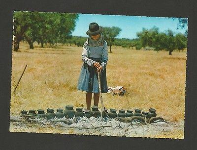 postcard 1960s LUNCH TIME FOOD & COUNTRY WOMAN ALENTEJO P...