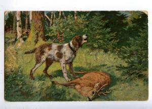 160685 Death Deer HUNT Pointer in Forest Vintage Colorful PC