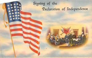 Signing of the Declaration of Independence, Flag Series 14 Patriotic Unused