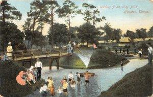 G22/ Houston Texas Postcard c1910 Wading Pond City Park Kids Fountain