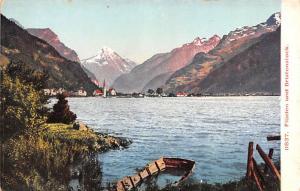 Switzerland Old Vintage Antique Post Card Fluelen und Bristenstock Unused
