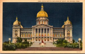 Iowa Des Moines State Capitol Building By Night 1941 Curteich