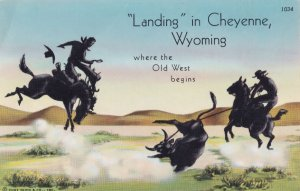 Landing In Cheyenne Wyoming Rodeo Cowboy Horse USA Postcard