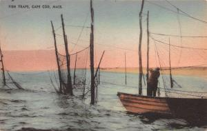 Fish Traps, Cape Cod, Massachusetts, Early Hand Colored Postcard, Unused