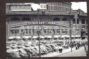 RESL PHOTO CHICAGO WHITE SOX COMISKEY PARK BASEBALL STADIUM CARS POSTCARD CARS