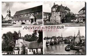 Modern Postcard Honfleur The outer harbor The Lieutenancy The church ND Grace
