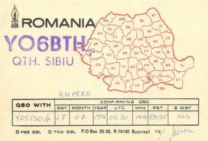 Romania Amateur Radio Station QSL card country YO6BTH Sibiu