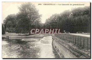 Old Postcard Chateau de Chantilly The cascade of Grand Canal