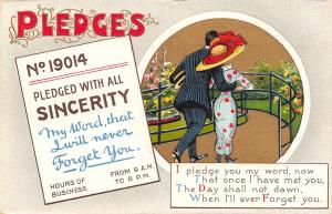 BB London Pledges~No 19014~With All Sincerity~Will Never Forget You~Couple~1910