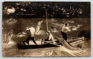 Lake Chautauqua~Exaggerated Fish That Wade Dreamed Up For Mr Hulbert 1910 RPPC