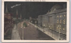 Milwaukee, Wis., Grand Ave West from 8th Street Night in Milwaukee - 1919