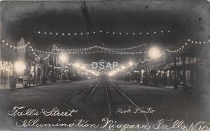C33/ Niagara Falls New York NY Real Photo RPPC Postcard 1910 Night Street Lights