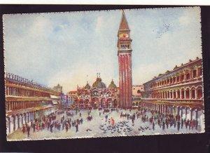P1570 vintage unused postcard art italy st mark square colorful many people