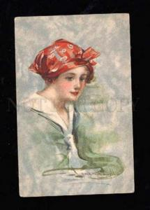 014192 Lovely Lady with Red Kerchief by SHAWELL vintage PC