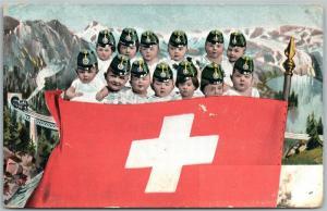 MULTIPLE BABIES w/ SWISS FLAG ANTIQUE POSTCARD