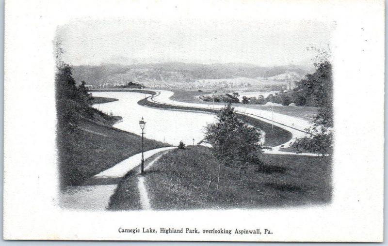 Aspinwall, PA Postcard Carnegie Lake, Highland Park Pittsburg Press PC c1900s