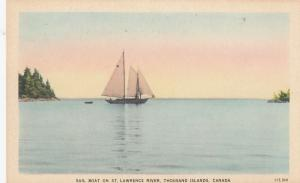 Sailboat, Sailing; St Lawrence River, Thousand Islands, Ontario, Canada, 30-40s