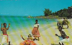Jamaica Doing The Limbo On The Beach