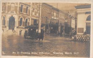 E64/ Wheeling West Virginia RPPC Postcard 1907 Flood Disaster Bank Horse Wagon 6