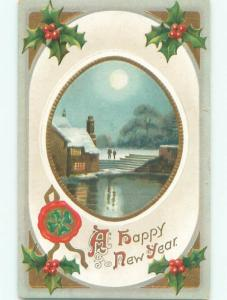 Divided-Back NEW YEAR SCENE Great Postcard W7593