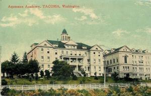 Tacoma Washington~Aquanox Academy Beyond Ranch-Style Fence on Hillside c1909
