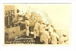 RP  Battleship USS NORTH DAKOTA, Sailors watching Battenburg Cup-race, 1922