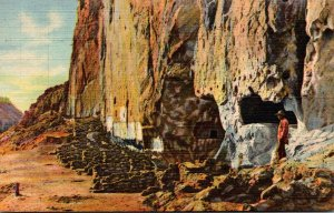 New Mexico Frijoles Canyon North Wall Ruins 1948 Curteich