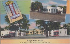 PANAMA CITY FL - KING'S MOTOR COURT MOTEL 1950s / RESTAURANT / US #98