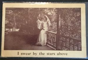 "Vintage Postcard Used Wedding Couple ""I swear by the stars above""  LB"