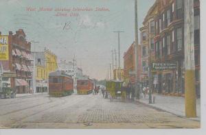 Ima Ohio West Market St Iterurban Station trolley train antique pc (Z10357)