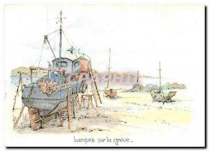 Modern Postcard Boats on the Robert Greve original watercolor of Lepine Charter