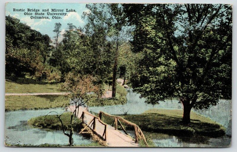 Columbus~Ohio State University~Paths on Rustic Bridge Across Mirror Lake~c1914