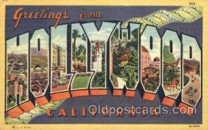 Greetings From Hollywood, CA, USA Large Letter Town Unused small crease on le...