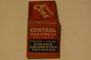 Central Cigar Stores Co. Chicago Advertising 20 Strike Matchbook Cover