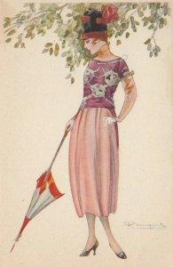 Art Deco ; BOMPARD ; Fashion Woman Portrait #17 , Umbrella , 1910-20s