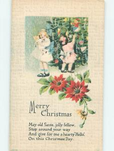 Divided-Back christmas GIRL HOLDS HER DOLL BY THE XMAS TREE o4289