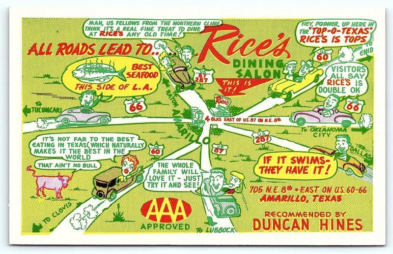 Postcard TX Amarillo Rices Dining Salon Restaurant Cartoon Road Map