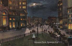 Horse Drawn Traffic - Veterans' Park at Night - Syracuse NY, New York - DB