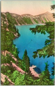 1930s CRATER LAKE NATIONAL PARK Hand-Colored Postcard Boat Landing from Trail