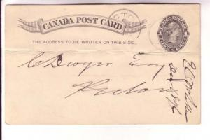 Victoria Postal Stationery Card, Pictou NS 1896 Cancel, Coal Quote