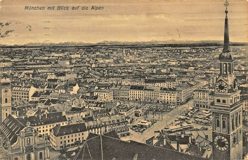 MUNCHEN MUNICH GERMANY mit BLICK auf die ALPEN~1910 PHOTO POSTCARD