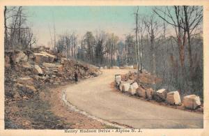 Alpine New Jersey Henry Hudson Drive Street View Antique Postcard K48116