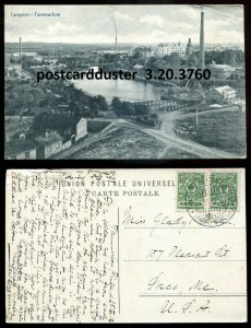 3760 - FINLAND Tampere Postcard 1912 Birds Eye View. Russian Stamps