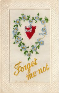 EMBROIDERED, 00-10s; Forget me not, Shield surrounded by heart of forge-me-nots