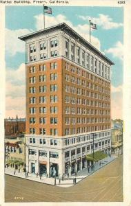 1920s Mattel Building Fresno California flag Pacific Novelty postcard 11238